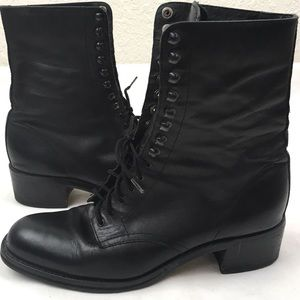 VTG Laceup Combat Boots in Black Leather